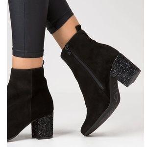 Kanna Black Suede Ankle Boots Sparkle Heel